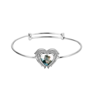 Personalized Angel Wings Heart Photo Bangle with Birthstone
