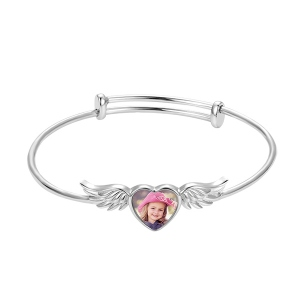 Personalized Heart Photo Bracelet with Angel Wings