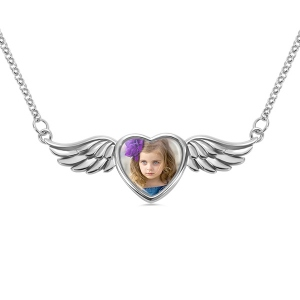 Personalized Photo Angel Wing Necklace