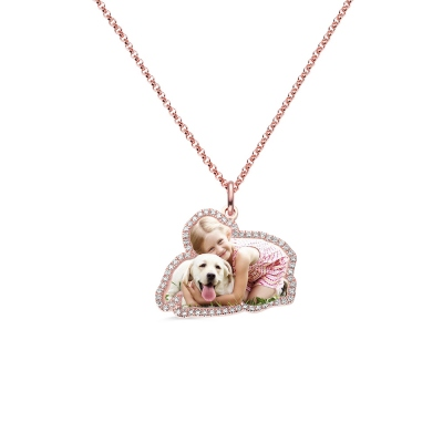 Personalized Color Photo Necklace with Birthstone in Rose Gold