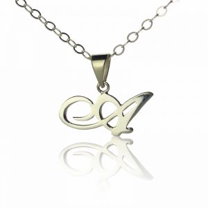 Sterling Silver Custom Initial Letter Necklace