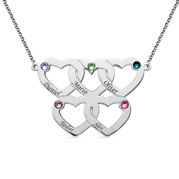 Engraved Five Hearts Necklace With Birthstones Sterling Silver