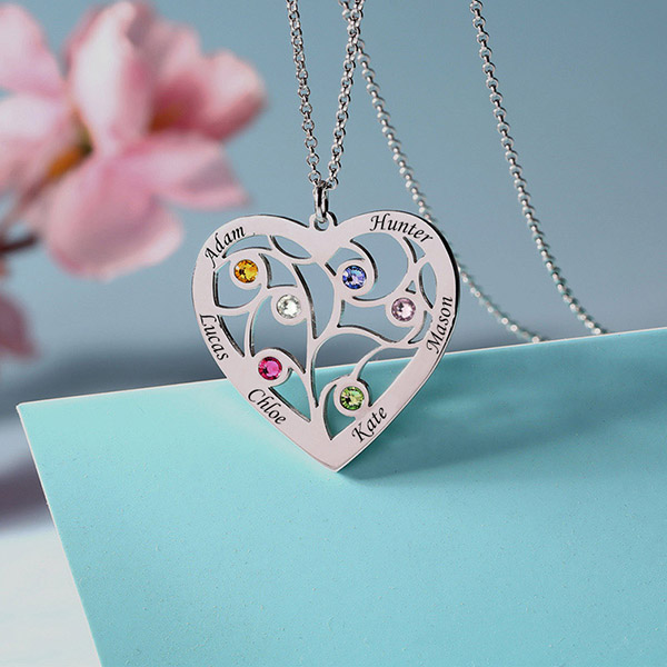 4d71f2bb785465 Sterling Silver Heart Family Tree Necklace Engraved with Name  ...