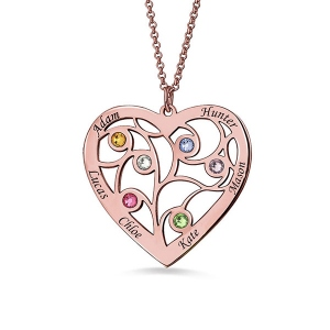 Rose Gold Plated Silver Heart Family Tree Necklace Engraved with Name& Birthstones
