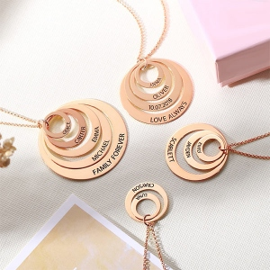 Engraved Family Stacked Circle Necklace in Rose Gold
