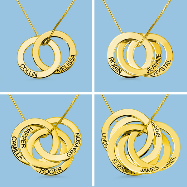 Engraved Russian Ring Necklace in Gold