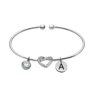 Engraved Heart Bangle with Birthstone in Silver