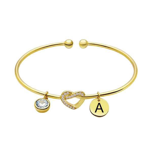 Engraved Heart Bangle with Birthstone in Gold
