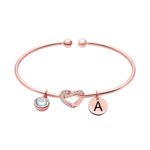 Engraved Heart Bangle with Birthstone in Rose Gold
