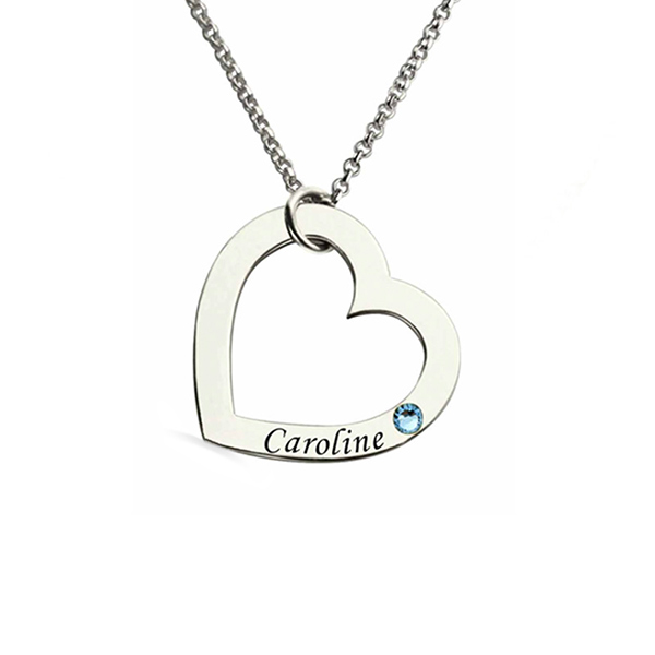Personalized Name Heart Necklace with Birthstone in Silver