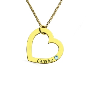 Personalized Name Heart Necklace with Birthstone in Gold