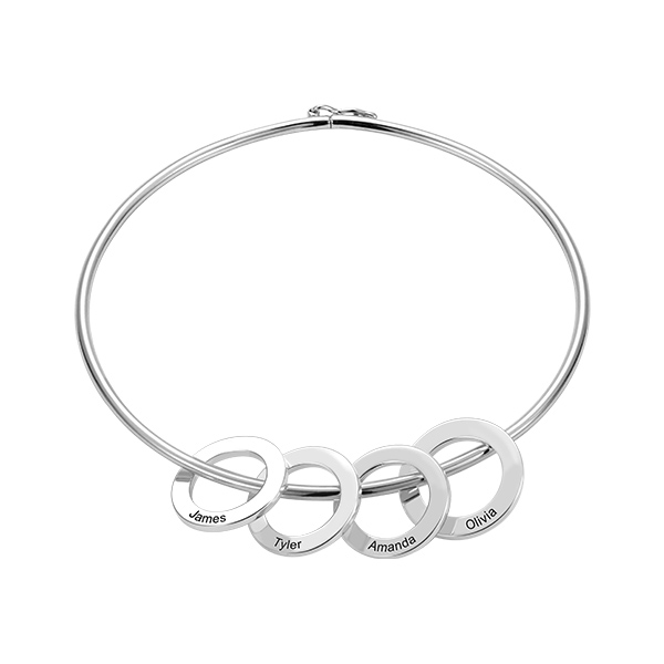 Personalized Silver Bangle Bracelet with Circles Pendant