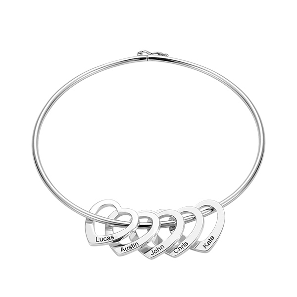 Personalized Bangle Bracelet with Heart Pendants