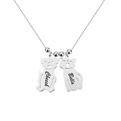 Engraved Kids and Cat and Dog Charm Necklace in Silver