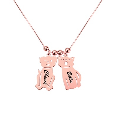 Engraved Kids and Cat and Dog Charm Necklace in Rose Gold