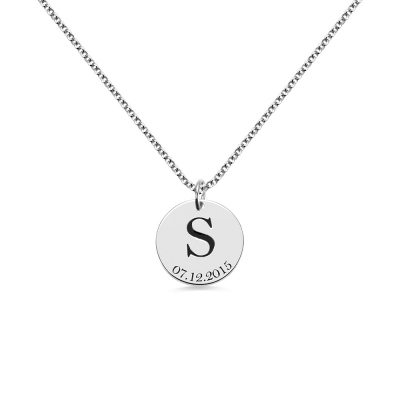Personalized Initial and Date Disk Necklace in Silver