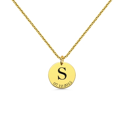 Personalized Initial and Date Disk Necklace in Gold
