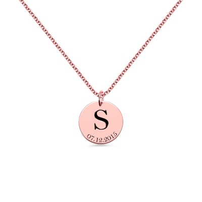 Personalized Initial and Date Disk Necklace in Rose Gold