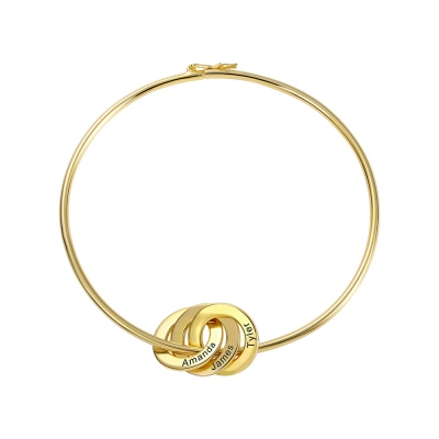 Personalized Russian Ring Bangle Bracelet in Gold