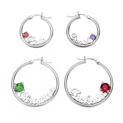 Personalized Name Birthstone Hoop Earrings in Silver