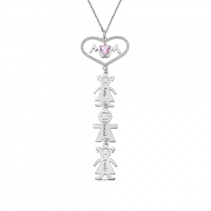 Heart Mom Necklace with Kids Charm in Silver