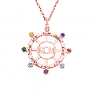Personalized Steering Wheel Name & Birthstone Necklace in Rose Gold