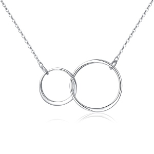 You And Me Double Circle Sterling Silver Necklace
