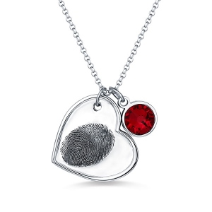 Personalized Fingerprint Heart Necklace With Birthstone