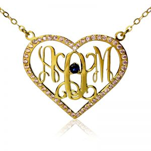 Birthstone Heart Monogram Initials Necklace 18K Gold Plated