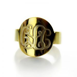 Engraved 18K Gold Plated Script Monogram Initial Ring