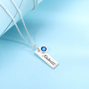 Personalize Hammered Bar Necklace with Birthstones Pure Silver