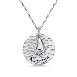 Personalized Hammered Baby Feet Necklace Pure Silver
