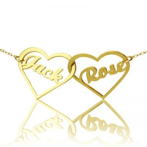 Double Heart Couple's Name Necklace 18k Gold Plated