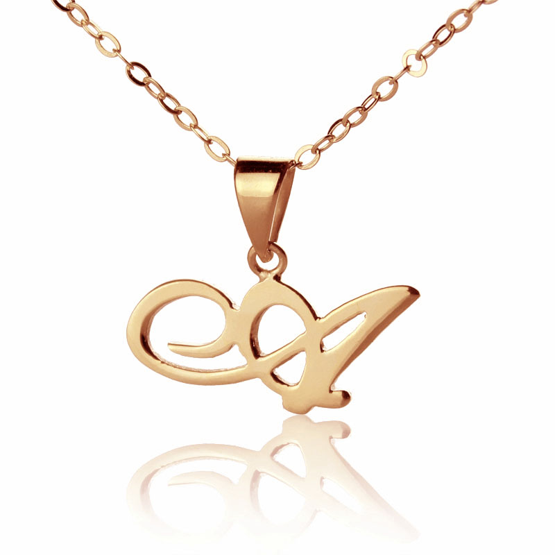 2 or 3 Initials Baby Feet Charm Rose Gold Plated Necklace Personalised With 1