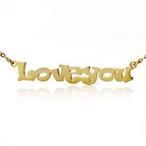 Cute Cartoon Ravie Font Solid Gold Name Necklace