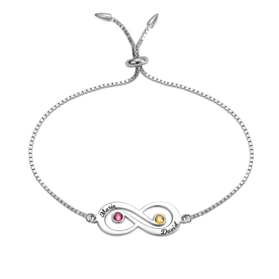 Personalized Infinity Name Bracelet with Birthstone in Silver
