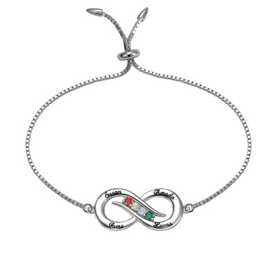 Personalized Infinity 4 names Bracelet with Birthstones in Silver