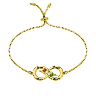 Personalized Infinity 4 names Bracelet with Birthstones in Gold