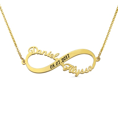 Custom 2 Names Infinity Necklace with Date in Gold