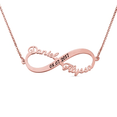Custom 2 Names Infinity Necklace with Date in Rose Gold