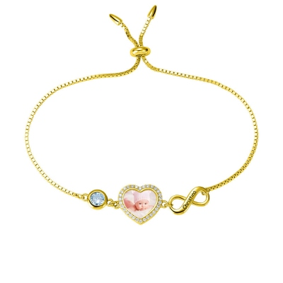 Personalized Heart Photo Bracelet with Birthstone in Gold