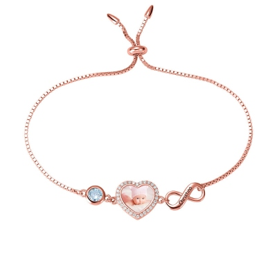 Personalized Heart Photo Bracelet with Birthstone in Rose Gold