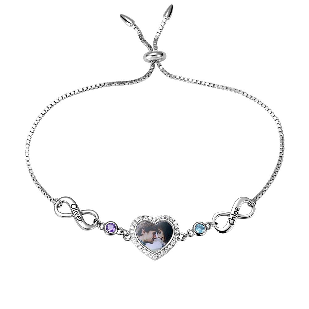 Personalized sterling silver infinity//heart bracelet.