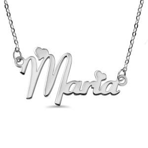 Personalized Solid White Gold Fiolex Girls Font Heart Name Necklace