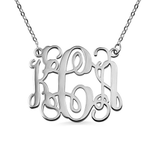 Personalized Monogram Necklace Solid White Gold 10k/14k/18k