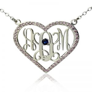 Heart Birthstone Women's Monogram Necklace Sterling Silver