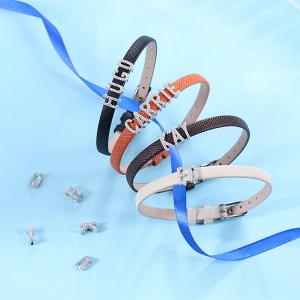 Personalized CZ Letter Leather Bracelet Sterling Silver