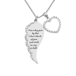 Personalized Angel Wing Heart Necklace Silver