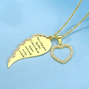 Personalized Angel Wing Heart Necklace Gold