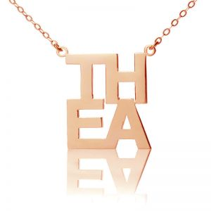 Rose Gold Plated Silver Lindsay 4 Letters Name Necklace